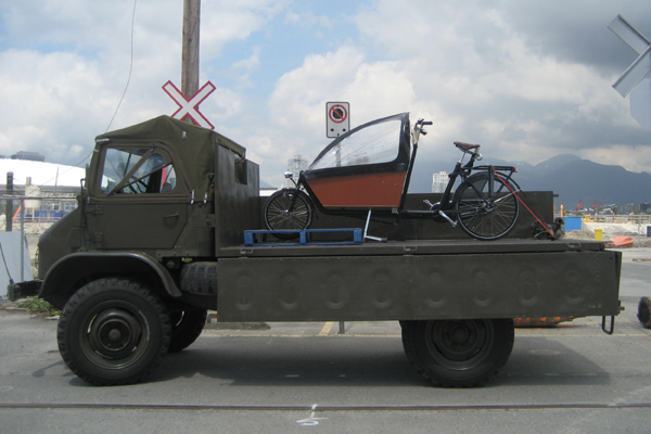Cargobike in Vancouver, BC on a Unimog