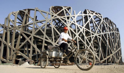 Transport bike in China with construction worker