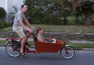 Mark Stosberg in Bakfiets Cargobike with passenger