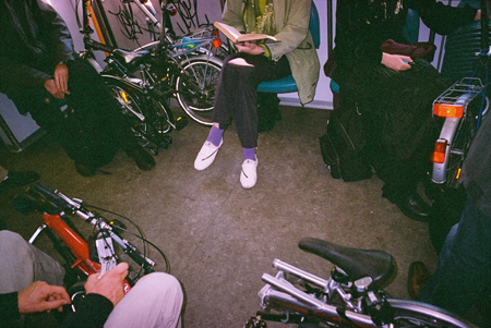 folding bikes in the train