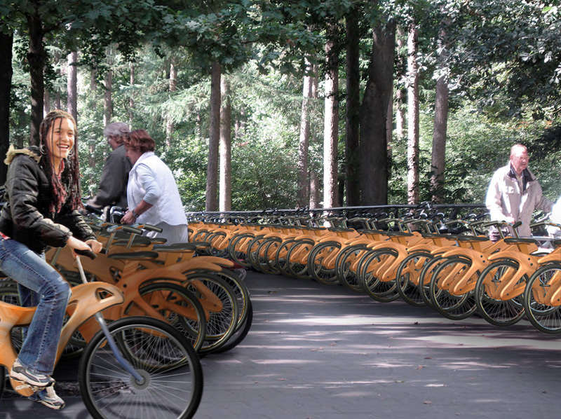 Shared wooden bikes on Governors Island new york