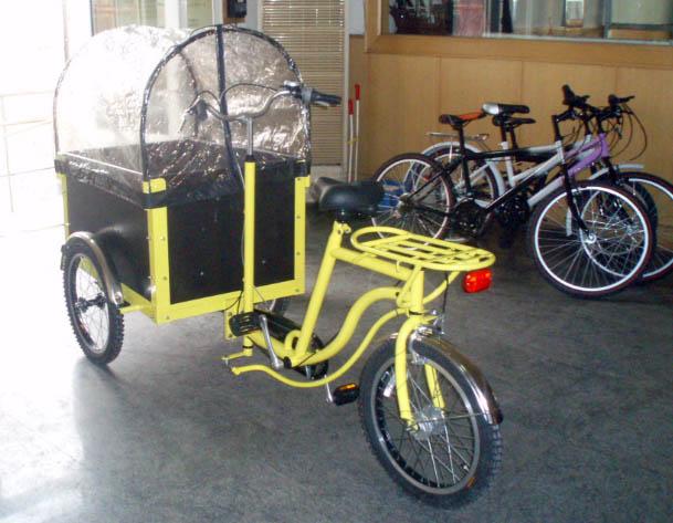 bijzondere bakfiets voor kindervervoer met achteruitstuur