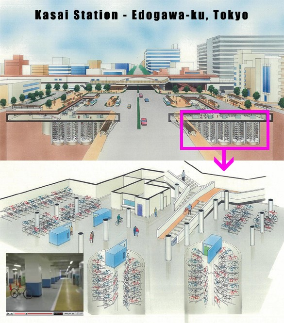 Automated bicycle parking garage in tokyo
