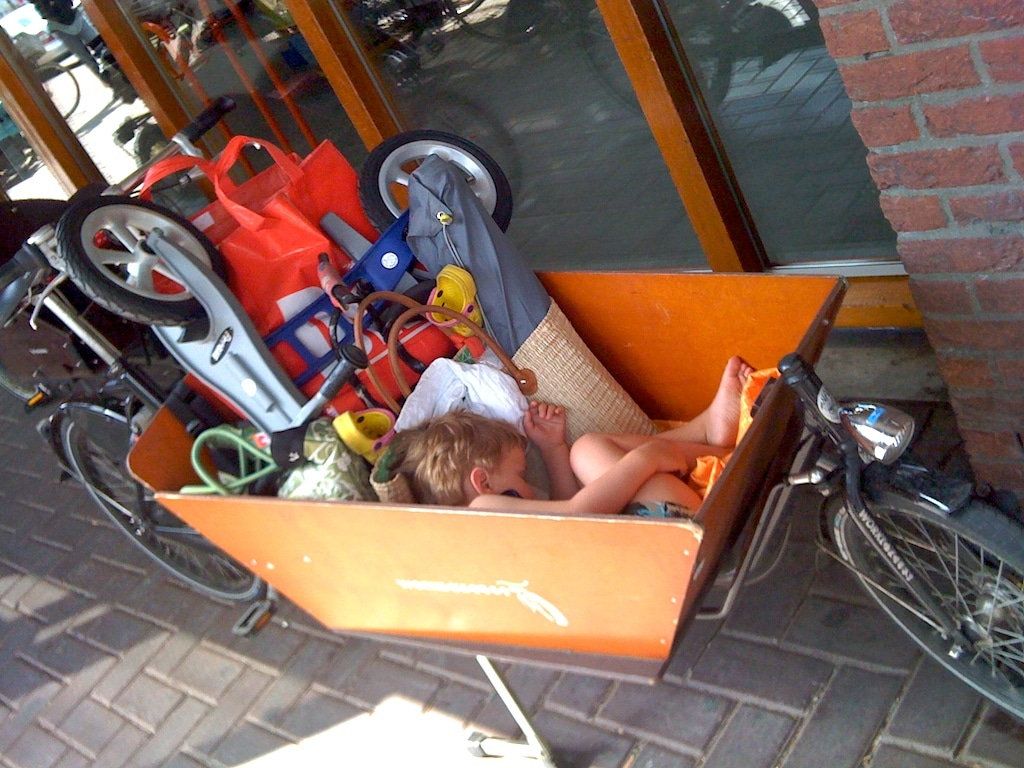 Jimmy sleeping in the Cargobike box
