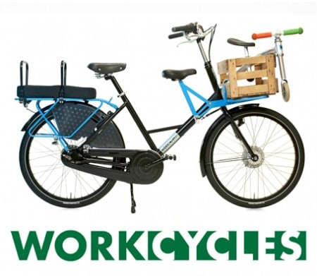 Workcycles Fr8 as family bike with three child seats... and a balance bike.